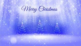 Ljus sammansättning för bakgrund för glad jul med julgranen tre 3d från blänker partiklar, mousserar stjärnor lager videofilmer