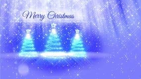 Ljus sammansättning för bakgrund för glad jul med julgranen tre 3d från blänker partiklar, mousserar stjärnor arkivfilmer