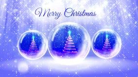 Ljus ljus sammansättning för glad jul med julgranen 3d från blänker partiklar och mousserar i snowglobe eller stock video