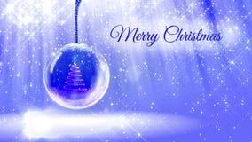 Ljus ljus sammansättning för glad jul med julgranen 3d från blänker partiklar och mousserar i snowglobe eller lager videofilmer