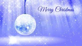 Ljus ljus sammansättning för glad jul med snö från blänker partiklar och mousserar i snowglobe eller kastar snöboll stock video