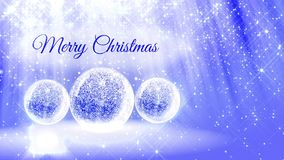 Ljus ljus sammansättning för glad jul med snö från blänker partiklar och mousserar i snowglobe eller kastar snöboll arkivfilmer
