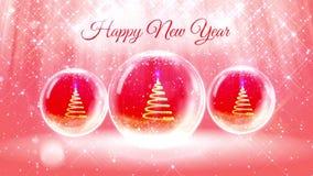 Ljus sammansättning för nytt år med julgranen 3d från blänker partiklar och mousserar i snowglobe eller kastar snöboll med stock video