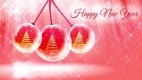 Ljus sammansättning för nytt år med julgranen 3d från blänker partiklar och mousserar i snowglobe eller kastar snöboll med arkivfilmer