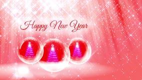 Ljus sammansättning för nytt år med julgranen 3d från blänker partiklar och mousserar i snowglobe eller kastar snöboll med lager videofilmer