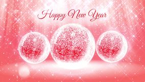 Ljus sammansättning för nytt år med snö från blänker partiklar och mousserar i snowglobe eller kastar snöboll Med strålar liksom stock video