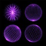 Ljus sfärboll Jordklot för vektorneonljus med spiralt ultraviolett mousserar och energiglödstrålar eller partiklar med prickanslu stock illustrationer