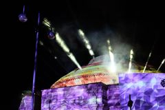 Ljus show i Edinburg royaltyfri foto