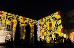 Ljus show med det asiatiska Civilisationsmuseet som bakgrunden under den Singapore floden på nätterna 2015 Arkivbilder