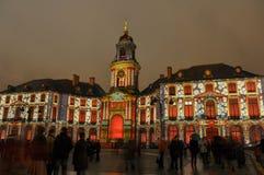 Ljus show på hotellet de ville i Rennes, Frankrike royaltyfria bilder