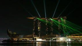 Ljus show på Marina Bay Sands i Singapore arkivfilmer