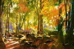 Ljus skog, härlig natur i vår vektor illustrationer