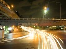 Ljus slinga i staden av Bangkok Arkivbild