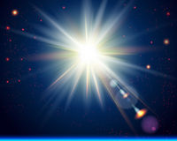 Ljus solbristning. Kosmisk bakgrund. royaltyfri illustrationer