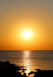 Ljus solnedgång för foto Arkivbild