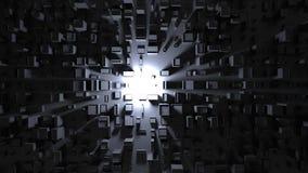 Ljus som skiner på mörka abstrakta stadsstrukturer - som är bästa ner sikt arkivfoto