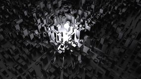 Ljus som skiner på mörka abstrakta stadsstrukturer arkivfoto