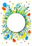 Ljus sommarkrans Blommor solstrålar, sommar royaltyfri illustrationer