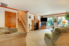 Ljus stor vardagsrum med TV royaltyfria bilder