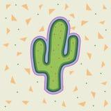 Ljus tecknad filmkaktussymbol Gullig kaktusväxt Arkivfoto