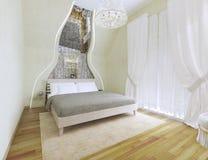 Ljus tonar sovrummet med det välvde taket Royaltyfria Foton