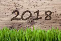 Ljus träbakgrund, Gras, text 2018 royaltyfria foton