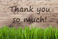 Ljus träbakgrund, Gras, text tackar dig så mycket Arkivbilder