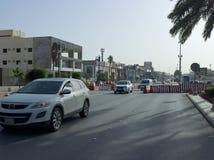 Ljus trafik på den Tahlia gatan i Riyadh, Fotografering för Bildbyråer