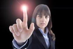 ljus tryckande på kvinna för knapp Royaltyfri Foto