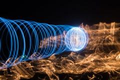 Ljus tunnel och brand Arkivfoto