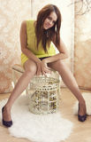 Ljus ung nätt kvinna som poserar med en bur Royaltyfri Fotografi