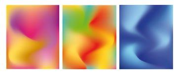 Ljus uppsättning av kort med moderiktig lutning för färg Abstrakt moderiktig bakgrund, f?rgrik textur Id?rik design, minimalism B royaltyfri illustrationer