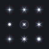 Ljus uppsättning för effekt för glödsignalljusstjärnor royaltyfri illustrationer