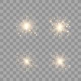 Ljus uppsättning för guld- glöd vektor illustrationer