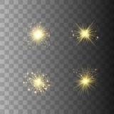 Ljus uppsättning för guld- glöd royaltyfri illustrationer