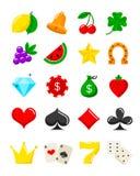 Ljus uppsättning för kasinolägenhetsymboler Vektorenarmad banditsymboler Royaltyfria Bilder