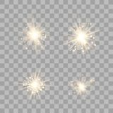 Ljus upps?ttning f?r guld- gl?d stock illustrationer