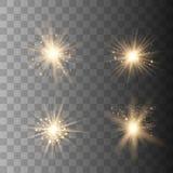 Ljus upps?ttning f?r guld- gl?d vektor illustrationer