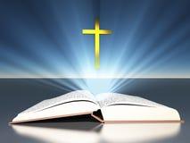 Ljus utstrålar från bibelkors stock illustrationer