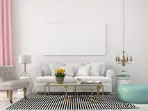 Ljus vardagsrum i vita och pastellfärgade färger Arkivbilder