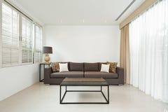 Ljus vardagsrum med den gråa soffan Arkivfoto