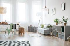 Ljus vardagsrum med soffan arkivfoto
