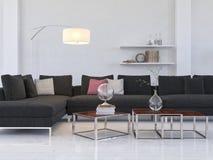 Ljus vardagsruminre med den moderna svarta soffan/coffetabellen Arkivbild
