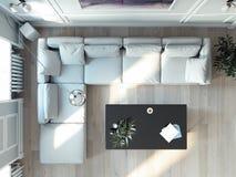 Ljus vardagsruminre med det stora fönstret och den vita soffan framförande 3d royaltyfri illustrationer