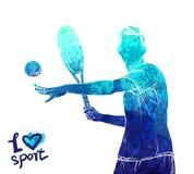 Ljus vattenfärgkontur av tennisspelaren Utrustning för skydd av spelaren Grafiskt diagram av idrottsman nen Aktivt folk Arkivfoto