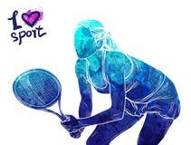 Ljus vattenfärgkontur av tennisspelaren Utrustning för skydd av spelaren Grafiskt diagram av idrottsman nen Aktivt folk Royaltyfri Fotografi