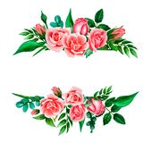 Ljus vattenfärgsammansättning av rosa, korallrosor och sidor Mall för att gifta sig hand-drog som inbjudningar isoleras på vi royaltyfri illustrationer