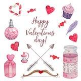Ljus vattenfärguppsättning för valentin dag royaltyfri illustrationer