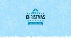 Ljus vinter - blåttbakgrund med snowflakes Tappningemblem för nytt år 2018 och för glad jul Hälsningkort, banermall minut stock illustrationer