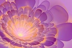 Ljus - violet och orange färg i fractalblomma Arkivfoto